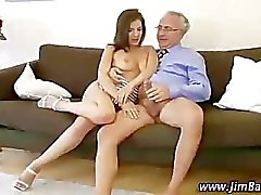 Older guy fucking younger girl in ass