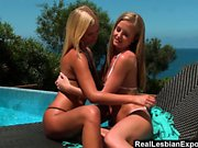 Poolside Pussy Action With Young Blonde Lesbi