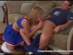 Naughty teen cheerleader sucks and fucks cock