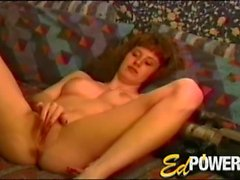 First timer strips from satin and rubs her clit