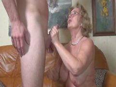 Pierced german granny getting fucked hard by a young guy