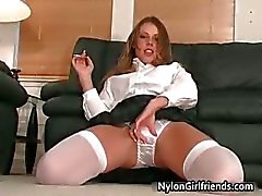 Sexy schoolgirl Penny Flame stripping