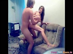 Small tit teen exposes her ass while riding