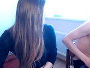 Cute brunette using toys on webcam