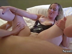 German Teen Couple in Real Threesome with Best Girlfriend