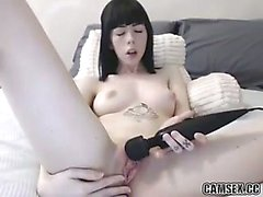 Pale Goth Camgirl Masturbates With Buttplug And Hitachi