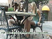 Leslie and Danielle superb lesbian women kissing and public flashing tits