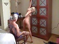 Pretty tank girl makes strip a old man