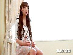 Teenage angelic japanese girl talked into hot sex