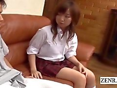 Subtitled CFNM bored Japanese schoolgirl with horny boyfriend