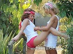 Ultra sensual lezz licking in garden