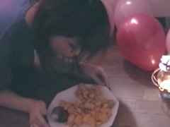 Asian chick toyed while eating on the floor like an animal