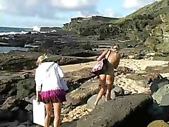 Carli,beautiful blonde girl playing on the beach!!