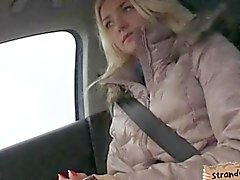 Cute amateur blonde teen Victoria Puppy fucked in a car