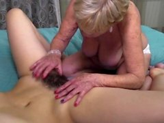 Kinky mature lesbian has sex with a hot hairy babe
