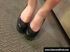 Foot fetish - Sexy teen babes fucking cock with their feet 12