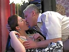 Teen in dress and beads takes old guy cock