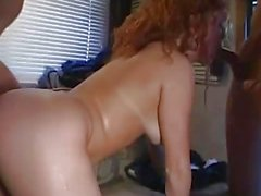 Freckled blonde gives her ass in the bangvan.