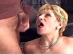 Granny loves fucking two big hard cocks