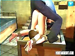 Animated BDSM with a young Asian chick bound and getting nailed
