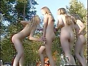 young pretty girls in forest