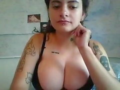 slim and hairy emo girl with firm big boobs on webcam show