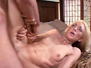 Slender blonde gets her cunt stretcehd by a thick dick