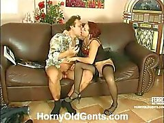 Brunette slut gets banged by an older dude