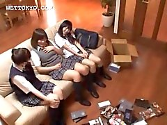 Teen asian students watching sex movies in group