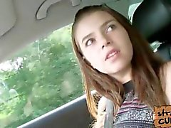 Bosomy hitchhiking teen Marina fucks a complete stranger