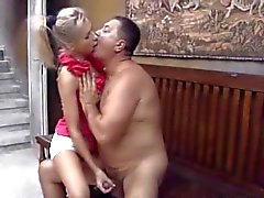 Beautiful Russian blonde fucking with old fart