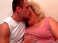 Guy and chubby granny masturbating