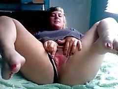 Chubby Ex Girlfriend with nice toes masturbating her Pussy