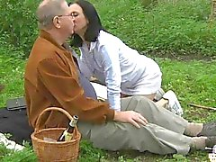 Naughty grandpa enjoys a picnic fuck with a horny teen