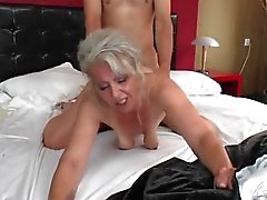 Slutty grandma has hot doggystyle sex