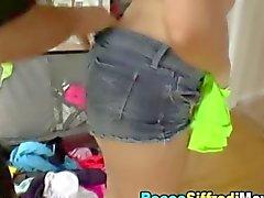 Slut shoves her big ass into his face