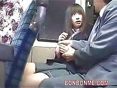 Jap schoolgirl blowjob on a bus