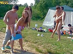 Drunk Teen girls have group sex by the lake