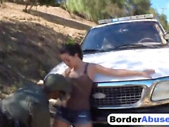 Law officer with the BBC fucks Latina babe on the border