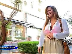 Keisha _Teen amateur babe flashing boobs and pussy in public