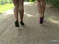 2 German Teens fucking public in Park with voyeur