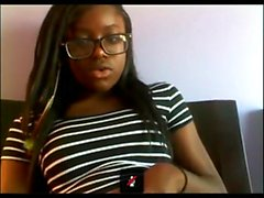 Young ebony hairy pussy girl in webcam