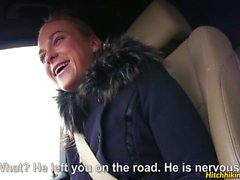Cute blonde Cristin hitchhiking and fucking with her driver