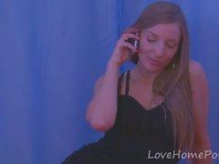 Brunette teen strips off her black dress