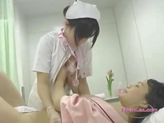 Lesbian nurse from Japan eating a cunt