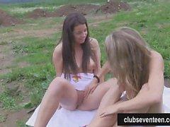 Teen lesbians Luka and Nessy masturbating