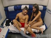 Wild Teen Couple Fucking on a Night Train - MySweetApple