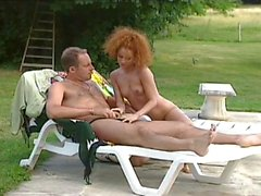 European brunette teens riding cool daddy in park