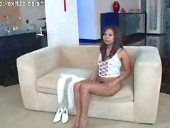 Linia, asian teen fingers herself ( high heels )
