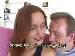 19yo teen Saphire Rae takes it anal